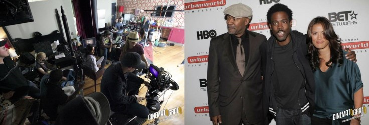 left-paragas-directing-one-of-her-many-commercial-shoots-right-paragas-with-nelson-george-and-chris-rock-at-the-premiere-of-her-film-brooklyn-boheme-photos-from-diane-paraga