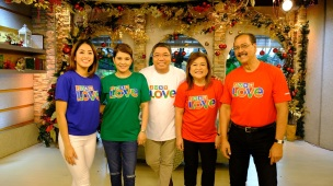 Gretchen Ho, Amy Perez, Jorge Carino, Winnie Cordero, and Ariel Ureta represent UKG in the station ID