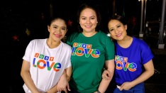 momshies Melai, Karla, and Jolina at the ABS-CBN Christmas station ID