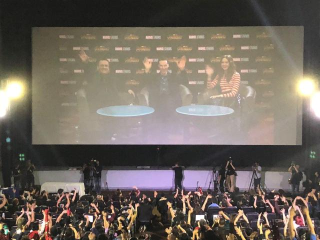 Avengers Infinity War director Joe Russo, actors Benedict Cumberbatch and Karen Gillan interact with the Filipino fans at Marvel Studios Fan Event by SM Cinema