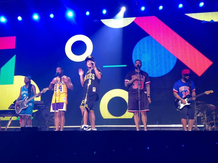 Bruno Mars opening the stage with his band The Hooligans