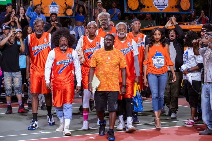 """From L to R: From L to R: Chris Webber as """"Preacher,"""" Nate Robinson as """"Boots,"""" Lisa Leslie as """"Betty Lou,"""" Shaquille O'Neal as """"Big Fella,"""" Lil Rel Howery as """"Dax,"""" Kyrie Irving as """"Uncle Drew,"""" Reggie Miller as """"Lights,"""" and Erica Ash as """"Maya"""" in UNCLE DREW. Photo by Quantrell Colbert."""