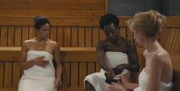 """L-r, Michelle Rodriguez, Viola Davis and Elizabeth Debicki star in Twentieth Century Fox's """"Widows."""""""
