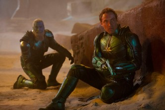 Marvel Studios' CAPTAIN MARVEL..L to R: Bron-Char (Rune Temte) and Leader of Starforce (Jude Law)..Photo: Chuck Zlotnick..©Marvel Studios 2019