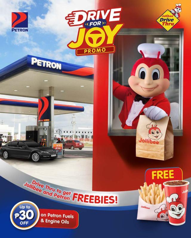 Drive-thru at Jollibee, gas up at Petron for freebies, discounts