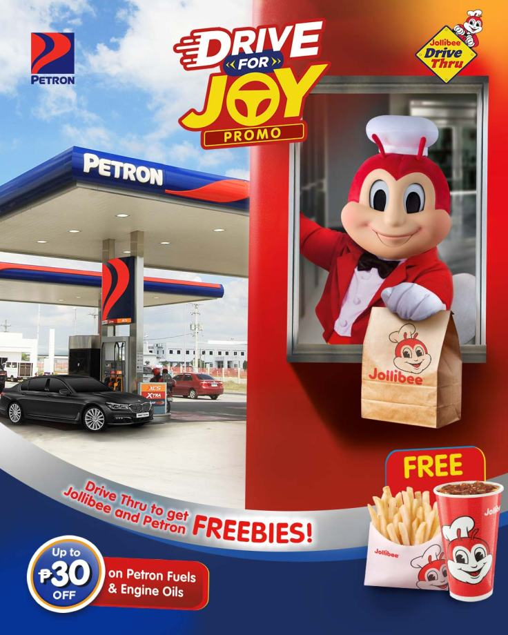 Drive-thru at Jollibee, gas up at Petron for freebies, discounts