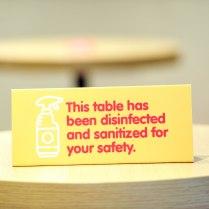 Table Sanitized Signage